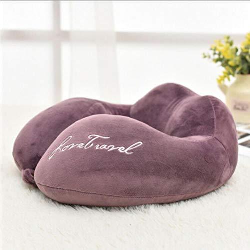 Cojín de memoria LAI en forma de U almohada de viaje en avión de viaje, soporte de cabeza de sueño, almohada de espuma suave, almohada de cuello de coche, color morado