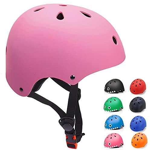 Casco Bicicleta para Niños Casco Infantil Ajustable para Monopatín Patinaje BMX Esquiar, Casco para multibles Deportes niño niña de Edad de 3-13 años (Rosa, Small)