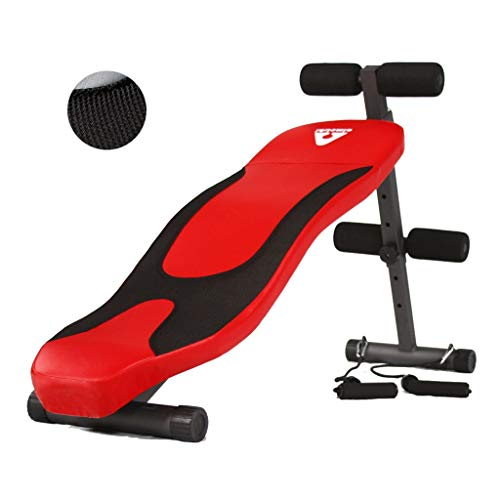 Dumbbell Bench Sit-ups Men and Women Exercise Beautiful Waist Plate Roman Stool (Color : Red, Size : 32 * 146 * 50-67cm)