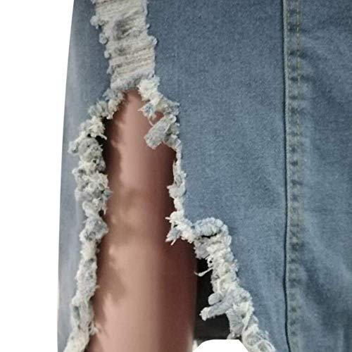 Faldas de Jeans para Mujer Faldas de Verano de Talla Grande Faldas de Mezclilla de Estilo Callejero dañado de Cintura Alta para Mujer