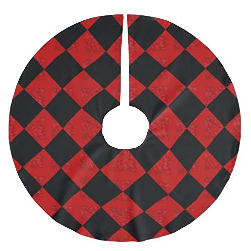 Traasd11an Christmas Tree Skirt, 30 inches Large Xmas Tree Skirts Black and hombre red diamond checker pattern for Christmas Tree Decorations