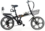 20 Pulgadas Bicicleta Bici Ciudad Plegables Adulto Hombre Mujer, Bicicleta de Montaña Btt MTB Ligero Folding Mountain City Bike Doble Suspension Bicicleta Urbana Portátil, H054ZJ