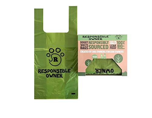 Responsible Owner Dog Poo Bags 80 Ecologici, Extra Spesse, Super Forte, 100% biodegradabili sacchetti per cani, con manici facili da legare e a prova di perdite, ogni borsa per cani misura 17 x 37 cm