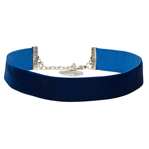 Alpenflüstern Trachten-Samt-Kropfband breit - Trachtenkette enganliegend, Kropfkette elastisch, eleganter Damen-Trachtenschmuck, Samtkropfband blau DHK199