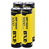 4Pcs Rechargeable Batteries, 3000mAh 3.7V Li-ion, Button Top,18650-Battery, 4-pack,for Flashlight Headlamp
