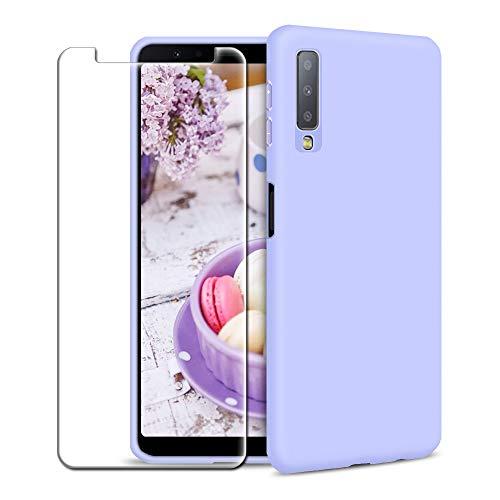 Funda Samsung Galaxy A7 2018 + Protector de Pantalla de Vidrio Templado, Carcasa Ultra Fino Suave Flexible Silicona Colores del Caramelo Protectora Caso Anti-rasguños Back Case - Morado Claro