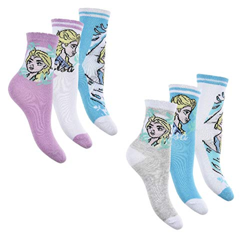 Lot de 6 paires de chaussettes, au motif reine des neiges, pour fille - Multicolore - 23/26