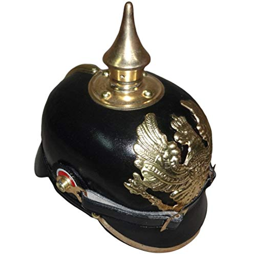 Kaiserlich Deutsche Spitz Pickelhaube Offizier Helmet - Black Leather & Brass