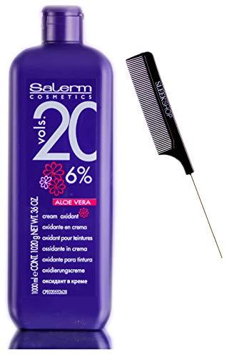 Salerm Cosmetics ALOE VERA Developer Cream Oxidant (w/Sleek Comb) Hydrogen Peroxide Activator for Vision Hair Color Salermvision Haircolor Dye (20 Volume / 6% - 1000 ml)