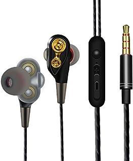 イヤホン 高音質 重低音 ノイズ遮断 高遮音性 通話可 軽量 音量調節可能 有線 カナル型 3.5mm金メッキプラグ ステレオ音質 ヘッドホン マイク付き リモコン付き 密閉型 耐久性 各機類対応 (金)