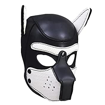 YiZYiF Unisex Adult Soft Leather Open Mouth Puppy Dog Hood Slave Head Mask Pup Cosplay Costumes White One Size