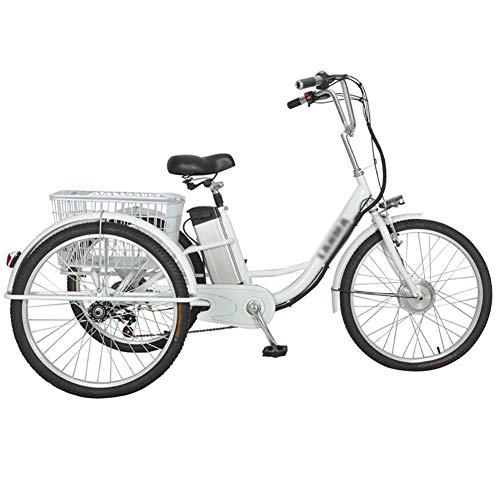 Triciclo Para Adultos Bicicleta Eléctrica De 3 Ruedas Bicicleta Asistida Con Carro Trasero Cesta Cesta De Comida Salida Compras 48V12Ah Scooter Pedal Eléctrico 24 Pulgadas Motor Único 250W Mano De Ob