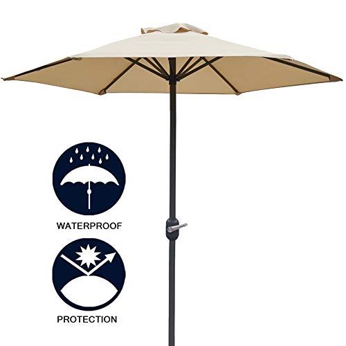 Erru Parasol Deporte Jardin Plage Parasol de Jardin Parasol 6.5ft / 2m, Parasol de Parasol Pliable avec Manivelle, Parapluies Imperméables de Table de Marché, Beige