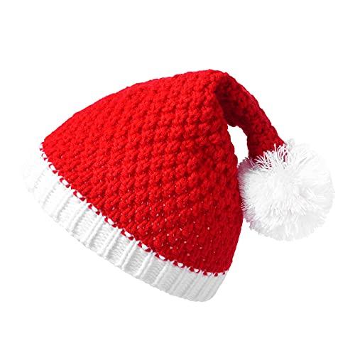 Yliquor Girls Boys Knitted Beanie Hat Kids Santa Hat Christmas Hat Children's Xmas Party Decoration Beanie Cap
