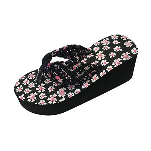 Women's Sandals Flip Flops Platform Wedge Floral Antiskid Strap Thong Slip on Shoes (Black, US:6.0)