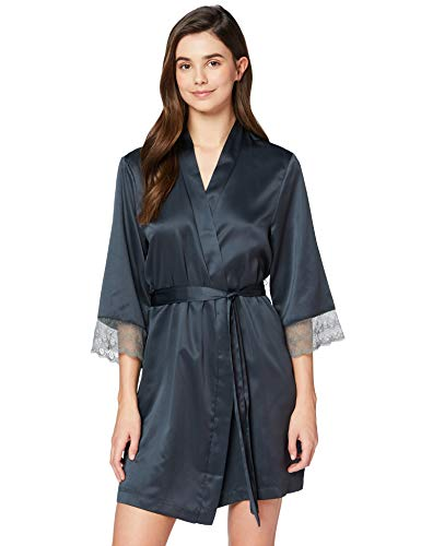 Amazon-Marke: Iris & Lilly Damen Kimono aus Satin, Grau (Dark Grey), XL, Label: XL
