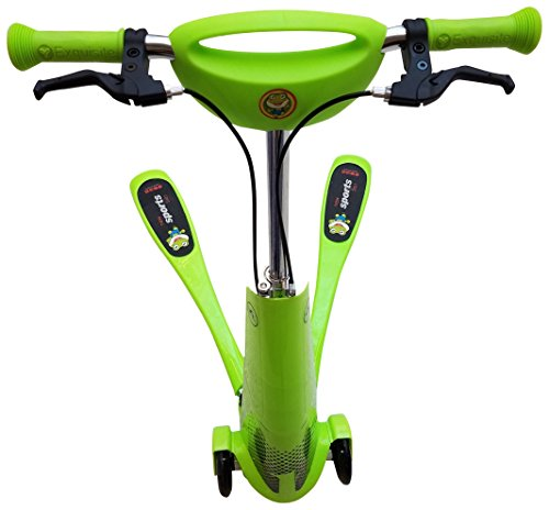 FEICHI SPORT Kid Green Frog Scissor Motion Kick Scooter with Dual Hand-Break PU Rainbow Lighting Wheel