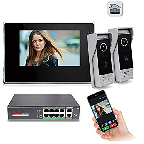Jeatone 7 inch Color LCD Monitor WiFi IP Video Door Phone Doorbell Intercom System IR-Cut Night Vision Speakerphone Camera 1 Monitor 2 Camera + POE Function