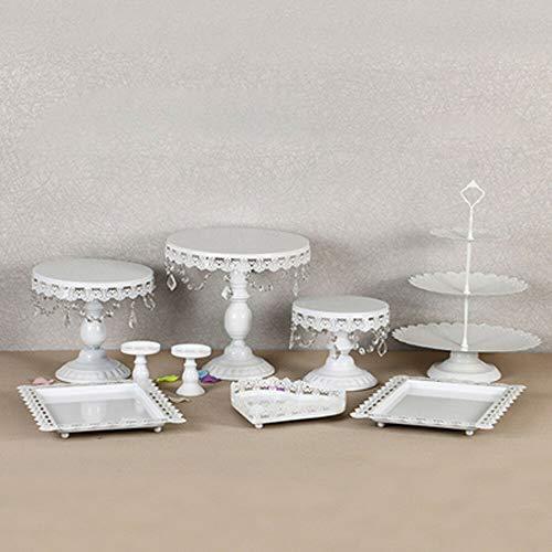 9 alzata per torte in cristallo bianco in metallo, stile europeo, per matrimoni, banchetti e pasticcini