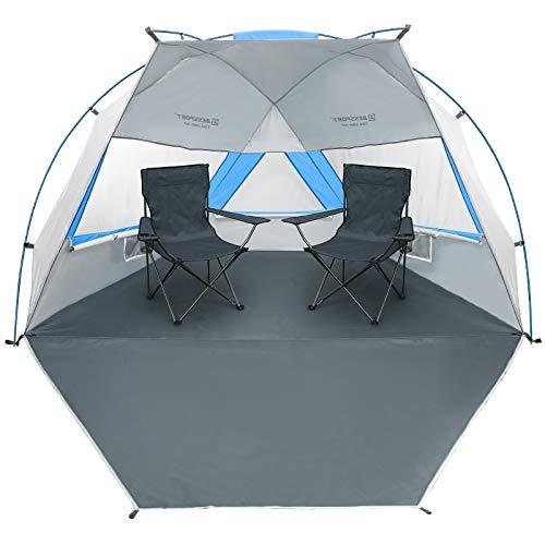 Bessport Strandzelt für 3-4 Personen,Kleines Packmaß Strandmuschel mit Ausziehbarer Boden und UV-Schutz 50+, Tragbar Beach Zelt Schnell Aufzubauender Windschutz für Familie, Garten