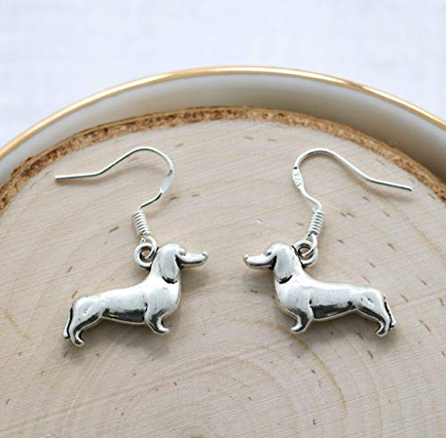 Dachshund Earrings Sterling Silver - Pet Remembrance Wiener Dog Gifts by Sigmo Creations