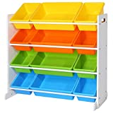SONGMICS Children's Toy <span class='highlight'>Storage</span> <span class='highlight'>Unit</span> Playroom Display Stand <span class='highlight'>Unit</span> with 4 Colour Removable PP Container Box with Density Board Frame Stand White 86 x 26.5 x 78 cm (W x D x H) GKR04W