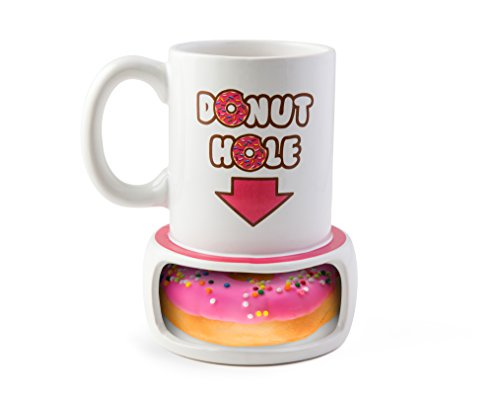 BigMouth Inc. Donut Hole Mug, Ceramic Cup for Coffee and Tea with Handle, Funny Novelty Cup