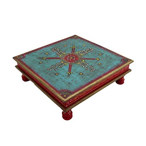 Couchtisch Beistelltisch Sofatisch Dekotisch Magoholz/MDF Holz Handbemalt Orientalisch Indisch Bunt Handarbeit Deko Mandala (Rot)