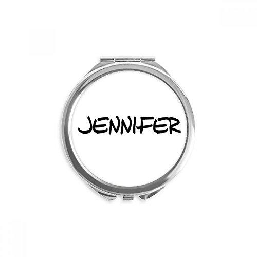 DIYthinker Spezielle Handschrift Englischer Namen JENNIFER Spiegel Runder bewegliche Handtasche Make-up 2.6 Zoll x 2.4 Zoll x 0.3 Zoll Mehrfarbig