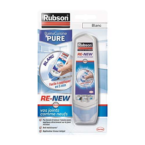 Rubson Bain & Cuisine RE-NEW, mastic sanitaire blanc à base de silicone, s'applique sur le joint déjà existant, mastic étanche & anti-moisissures, 1 x 100 ml