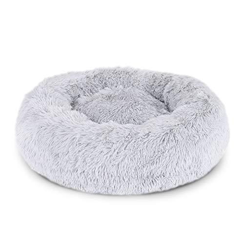 lionto by dibea Cama perros redonda cojín gatos sofá para perros donut (L) Ø 60 cm Gris claro