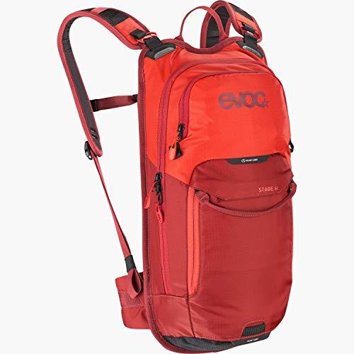 EVOC STAGE 6 technischer Bike-Rucksack für Enduro Biking und andere Outdoor-Aktivitäten (durchdachtes Taschenmanagement, maximale Rückenbelüftung, inkl. 2l Trinkblase), Orange / Chili Rot