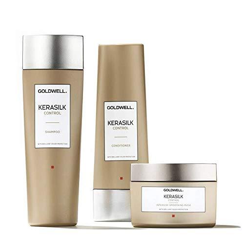 Conjunto Kerasilk Control de Goldwell: champú de 250 ml + acondicionador de 200 ml + máscara suavizante intensiva de 200 ml