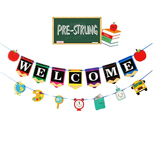 CASARGO Welcome Banner Back to School Party Pencil Shape Stationery First Day New Grade of School for Classroom Decoration Supplies