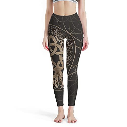 Josephion Las mujeres del árbol de la vida Yggdrasil polainas sin costuras Pilates pantalones de yoga para fitness blanco xs