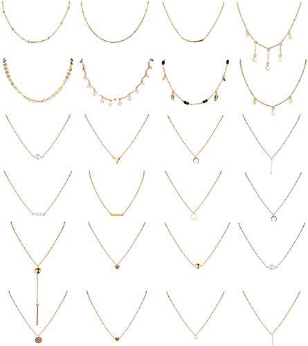 Adramata 24Pcs Vsco Gargantilla de Múltiples Capas Ajustable para Mujer Sexy Bar/Y Colgante Perla Moneda Círculo Luna Estrella Conjunto de Collares Gargantilla de Cadena Tono Plateado Dorado
