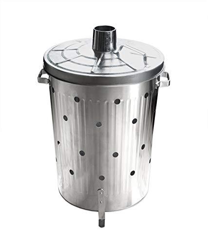 Feuertonne 75L verzinkt rostfrei - Brennofen für Garten - Feuerfass - Abnehmbarer Deckel & Belüftungslöcher - Standfüße - Tragegriffe
