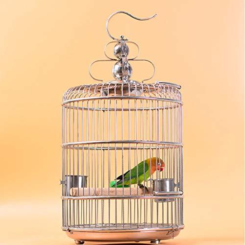 Perreras Jaula para Pájaros De Oro Y Plata Jaula De Pájaros De Acero Inoxidable Jaula De Pájaros para Loros Pequeños Alambre De Acero Grueso Pintura En Aerosol De Alta Temperatura