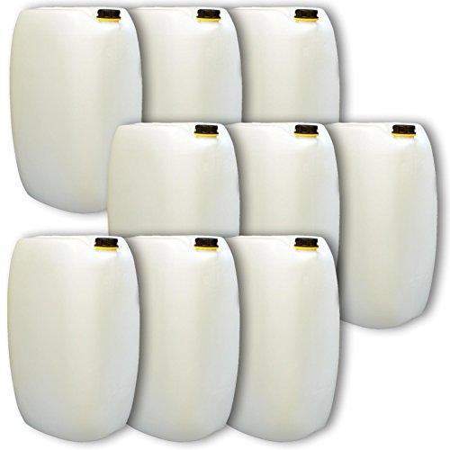 Wilai GmbH Lot de 9 bidons – Jerrican 60 L, Naturel, HDPE Ouverture DIN 61 qualité Alimentaire (9x22249)