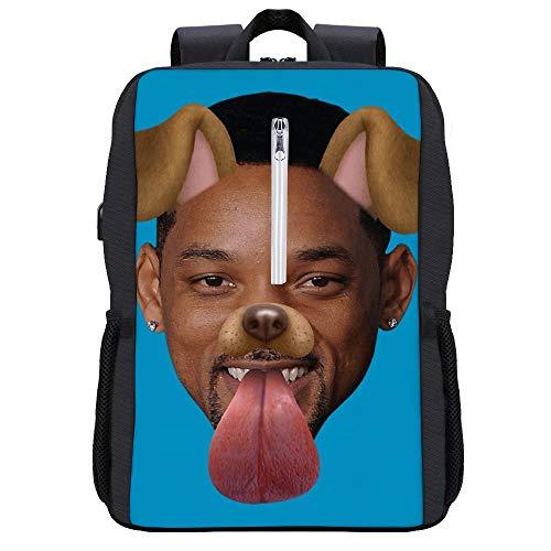 Smith Dog Snapchat Filter Backpack Daypack Bookbag Laptop School Bag with USB Charging Port