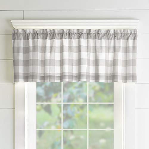Elrene Home Fashions Farmhouse Living Buffalo Check Window Kitchen Valance, 60 x 15 (1, Gray/White