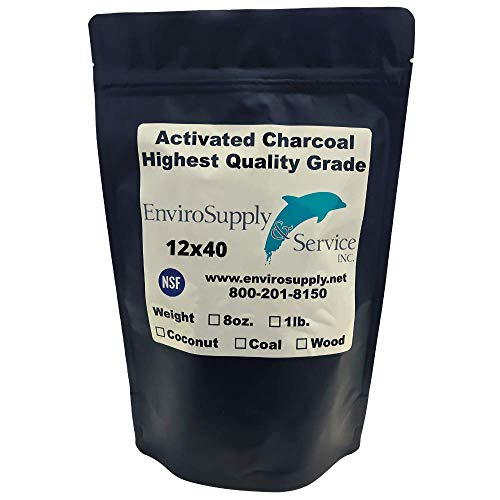 EnviroSupply 12x40 Mesh Size Coconut Shell Activated Carbon, Premium Charcoal Filter Media for Aquarium and Water Filtration (Removed Odors and Discoloration) - Resealable Bulk 1 Pound Bag (455 Grams)