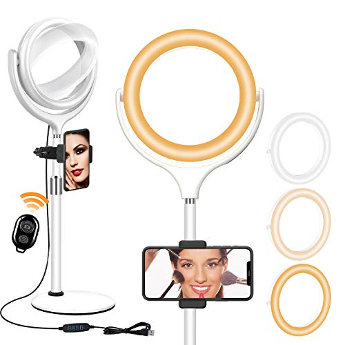 Yarrashop Selfie Ring Light with Stand and Phone Holder - Desktop Circle Ring Light for Computer Laptop Video Conferencing Remote Working TikTok YouTube Live Streaming Vlog Makeup and Photography