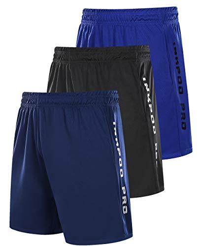 Inkpoo Herren 3er-Pack leichte Trainingshose mit Taschen, schnell trocknend, kurze Hose für Training Athletic Gym Gr. L, Schwarz, Blau, Marineblau