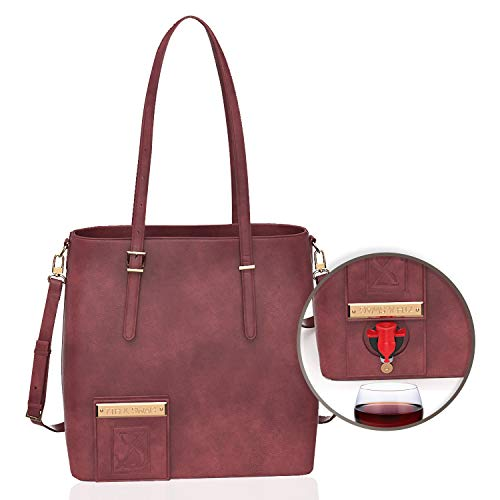 7th & Swag wine purse with hidden spout (burgundy) high-end wine tote with thermal insulated & waterproof hidden compartment.Holds 2 Bottles of Wine