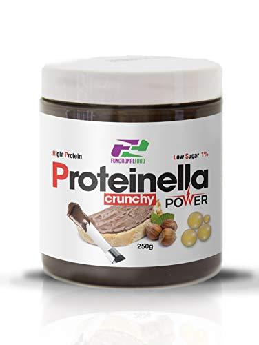 Crema proteica al cacao e nocciole PROTEINELLA spalmabile 250gr con praline proteiche - Functional Food (Crunchy)