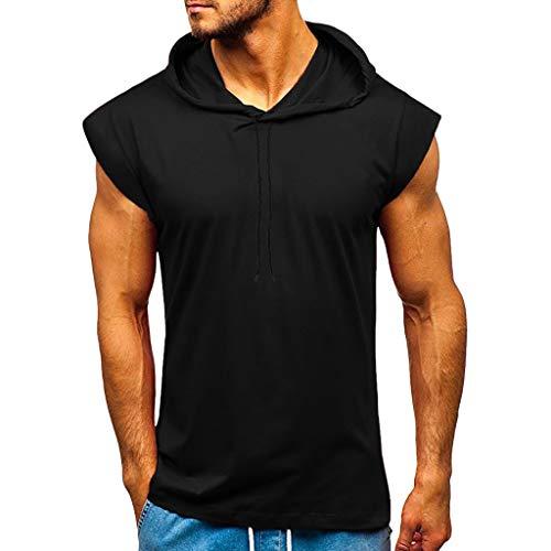 AmyGline Herren Sommer Hoodie Weste Muskelshirt Bodybuilding Ärmelloses T-Shirt Männer Gyms Muscle Shirts Tops Trainingsweste Schnell trocknend
