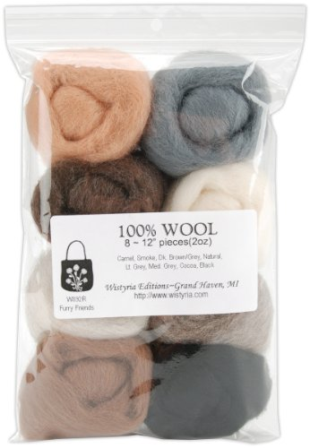 12' Wool Roving 8-Pack: Furry Friends (2oz)