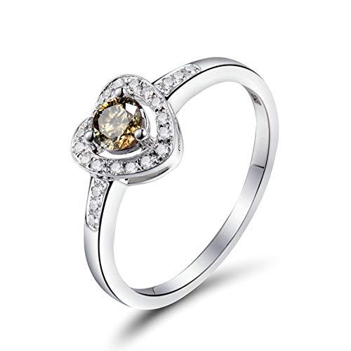 Bishilin Anillos de Oro Blanco 750 Alianza de Boda de 18K, Diamante En Forma de Corazón Anillos de Bandas 0.22ct Diamante Elegante Anillo de Compromiso Marrige Oro Blanco Talla: 6,75