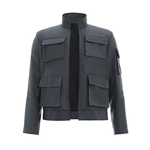 CosplayDiy Herren Jacke Han Solo Cosplay Grau - grau - Mittel